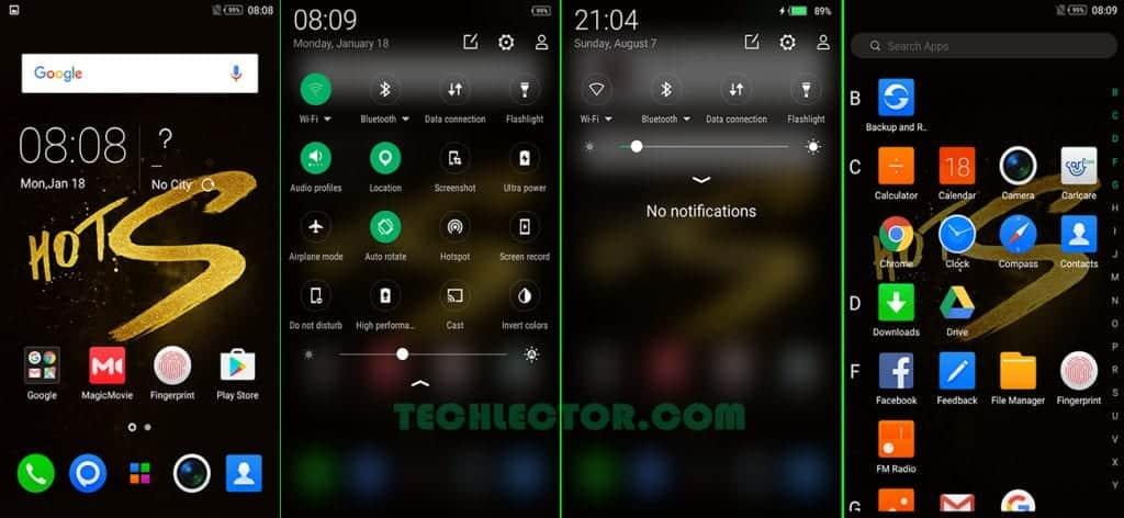 Infinix Hot S XOS Home Screen