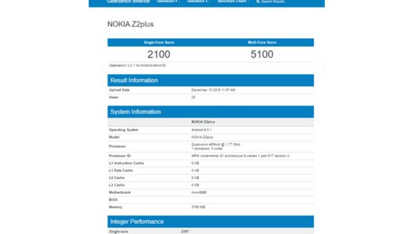 nokia z2 plus benchmark leaks