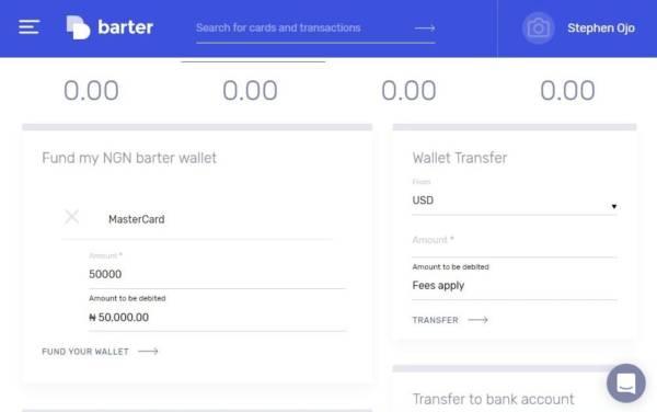 Funding a Getbarter.co virtual cards