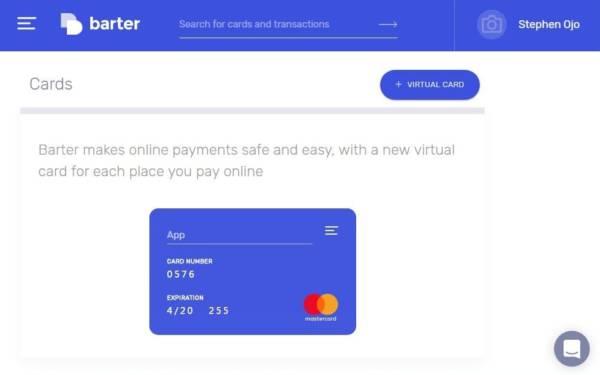 getbarter.co virtual card menu