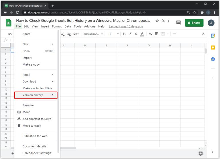 Check Edit History Google Sheets