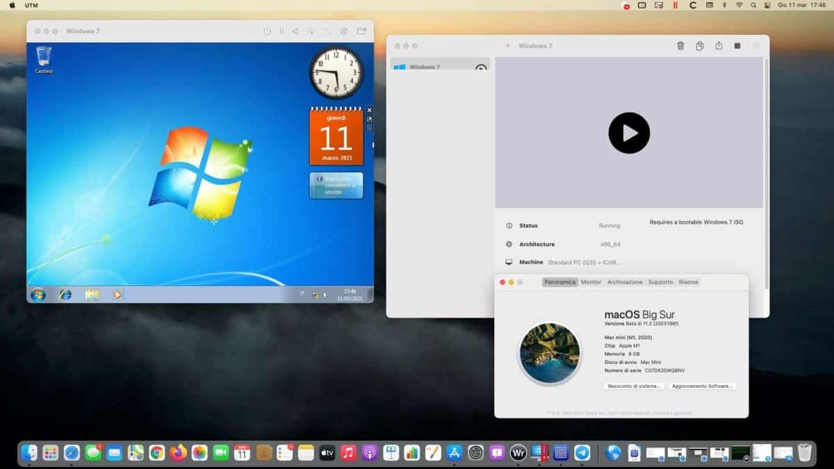 Windows 7 Running In A Window On A Mac Mini With M1