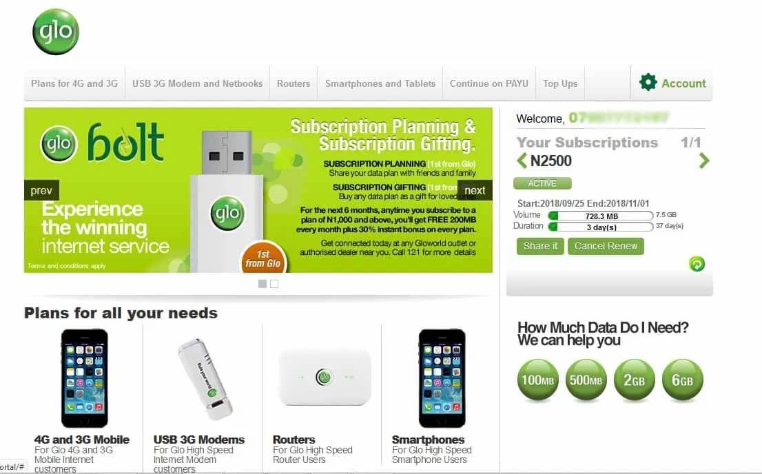 Glo Data Balance On Hsi Website