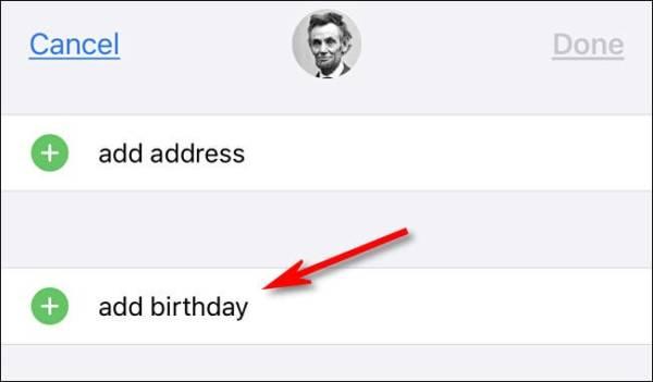 Tap Add Birthday