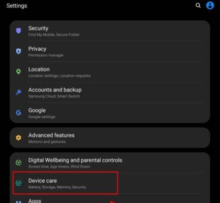galaxy fold screenshot, device care