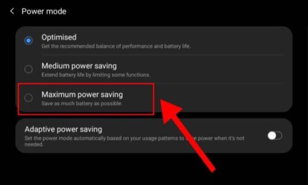 power saving mode options on galaxy fold